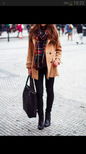 Scarf Jacket Trench Coat Brown Beige