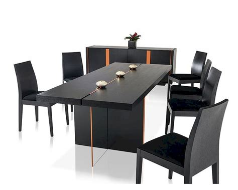 contemporary black oak dining set  floating table