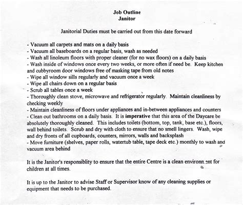 Custodian Description Resume by Janitor Description Images Janitorial Duties Must Be
