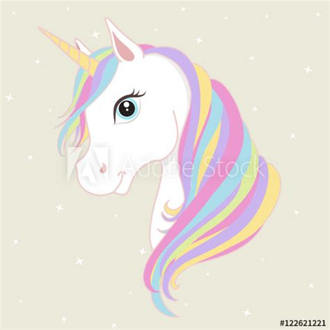 white unicorn vector head  mane  horn unicorn