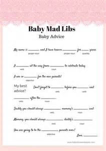 Free Printable Baby Shower Mad Libs Game