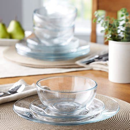 dinnerware glass clear dishes mainstays piece round dinner plates kitchen walmart square plate bowl casual bowls salad