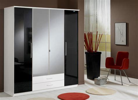 Black Wardrobe by Berlin 4 Door Wardrobe German High Gloss Black And White