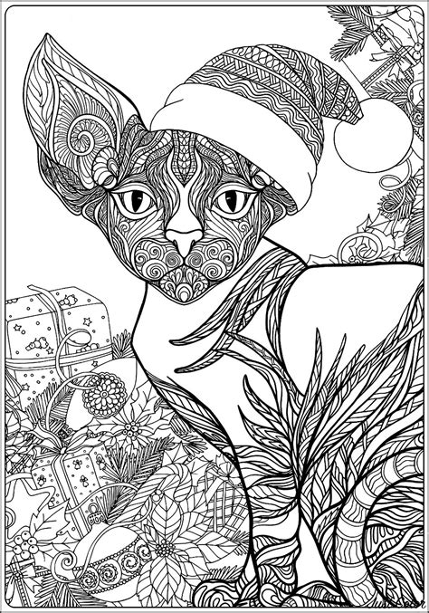 christmas sphynx cat  gifts  text christmas adult coloring pages