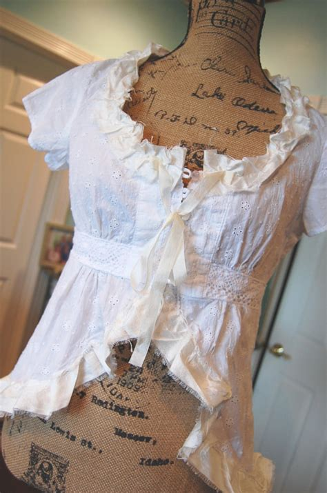 shabby chic tops white cotton eyelet top womens clothing shabby chic upcycled