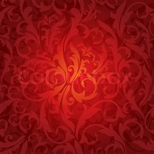 Abstract seamless red floral background vector
