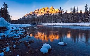 Banff, National, Park, Canada, Castle, Mountain, Sunset, Lanscape, Hd, Wallpaper, For, Desktop, Pc, Tablet