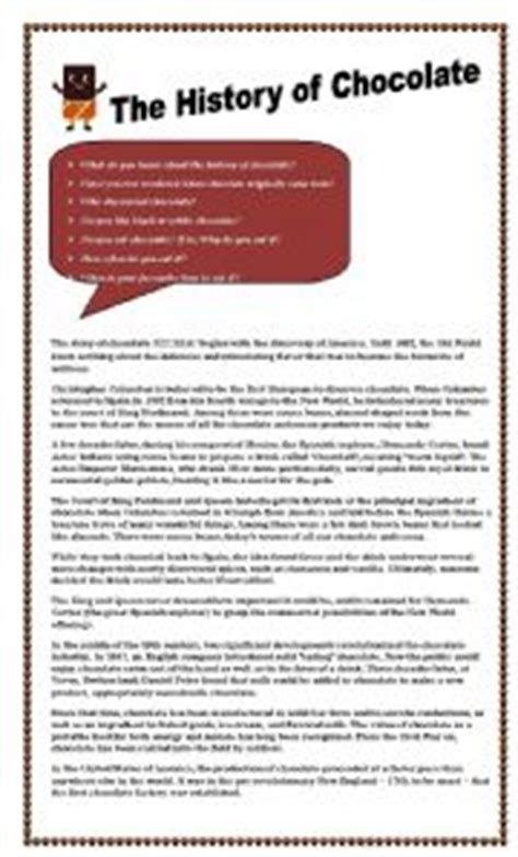 the history of chocolate esl worksheet by zorita