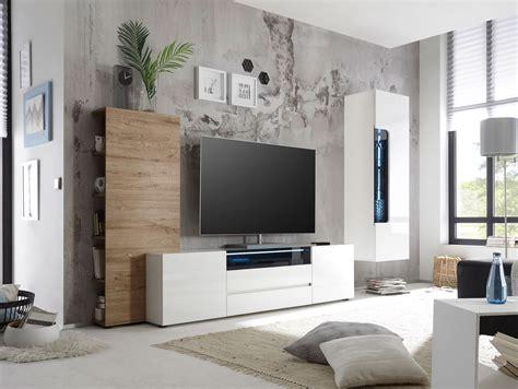 Wohnzimmer Wohnwand Weiß by Venedig Wohnwand Weiss Hochglanz Dekor Weiss Eiche Natur