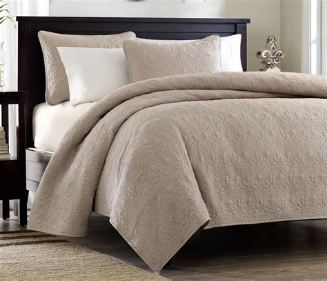 Brown Quilted Coverlet by Khaki Matelasse 3p Quilt Set Brown Cotton