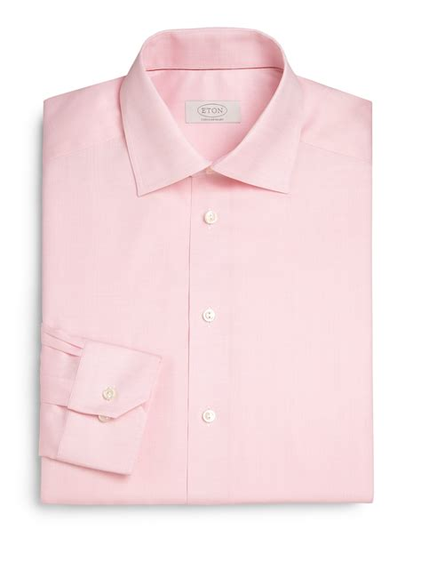 Light Pink Shirt Dress by Eton Of Sweden Contemporary Fit Herringbone Dress Shirt In