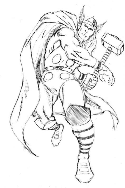 Kleurplaat Thor by Thor Ready To Throw His Hammer Coloring Page Netart