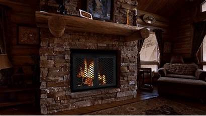 Fireplace Cozy Winter Gifs Snow Cabin Scene