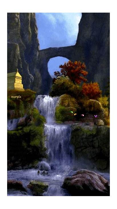 Nature Gifs Waterfall Giphy Animated Paisajes Scenes