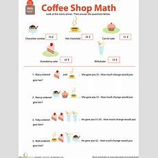 Making Change Coffee Shop Math  Worksheet Educationcom