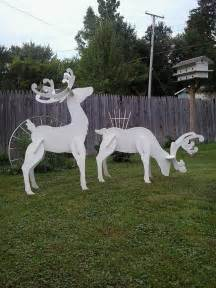 outdoor white reindeer wood yard lawn decoration