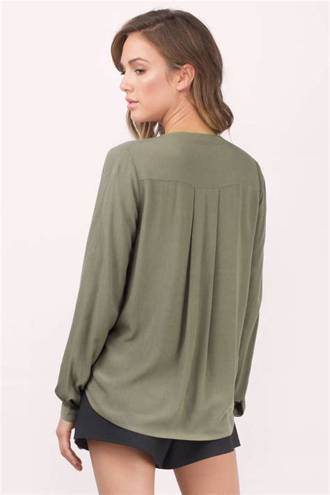 olive green blouse olive blouse surplice blouse green blouse 52 00