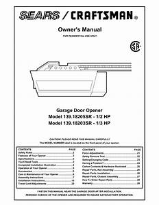 Craftsman Garage Door Opener Model 139 539 Manual
