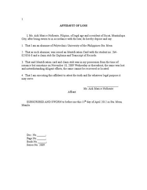 affidavit  loss sample