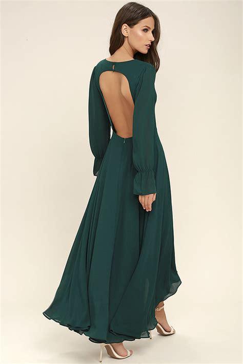 Stunning Forest Green Maxi Dress Backless Maxi Long