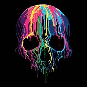 Melting Skull WOMANS T Shirt Neon Blacklight Fluorescent