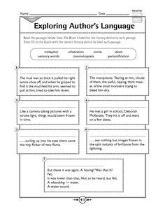 16 best images of literary terms worksheets high school