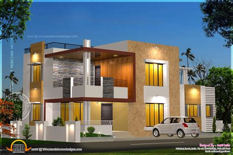 Floor plan and elevation of modern house - Kerala home
