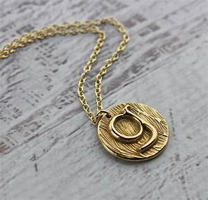 initial necklace custom letter necklace in gold bronze With small gold letter necklace