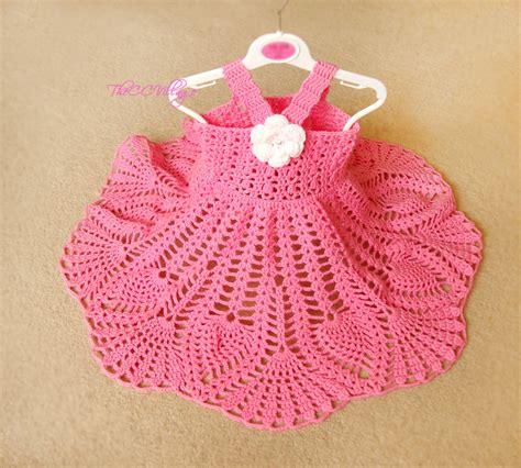 crochet baby dress pink crochet baby dress handmade girl dress white flower
