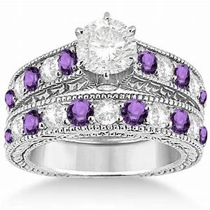 antique diamond amethyst wedding engagement ring set With amethyst diamond wedding ring set