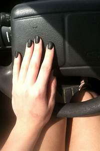 Matte black rounded acrylic nails | My nails | Pinterest