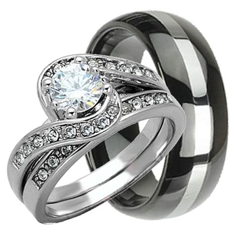 his hers 3 pcs womens sterling silver mens tungsten wedding rings bridal ebay