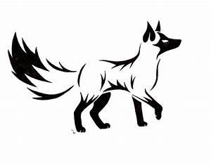 Cool Black Tribal Fox Tattoo Stencil