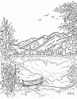 Coloring Mountains Pages Nature Scene sketch template