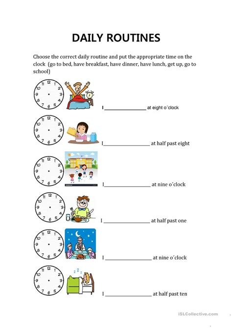 daily routines  hours english esl worksheets