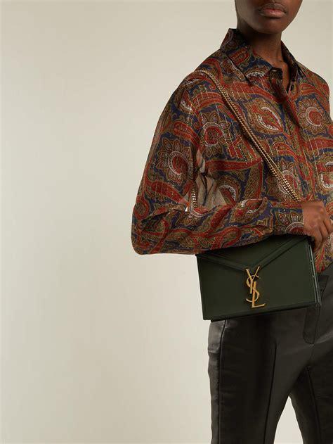 saint laurent cassandra ysl clasp leather cross body bag  dark green green lyst