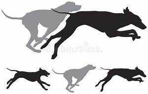 Hunting Dogs Run Vector Silhouettes Stock Vector ...