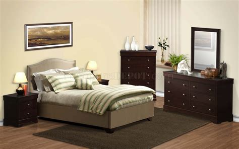 Cappuccino Transitional Bedroom 5pc Set Wbeige Bed & Options