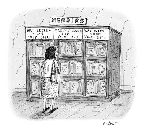 woman stands  front   bookshelf  memoirs drawing