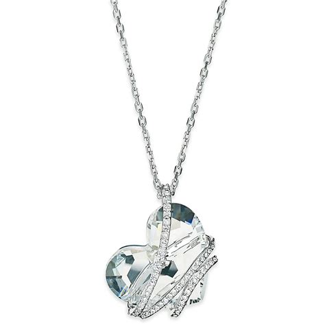 pendant necklace swarovski silver tone pendant necklace in