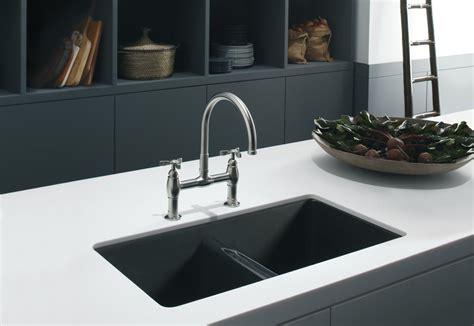 zero radius undermount undercounter white kitchen black countertop with