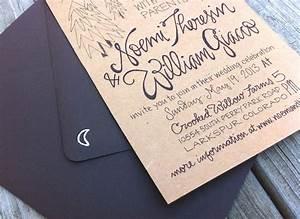 noemi bj39s hand lettered kraft paper wedding invitations With hand lettered invitations