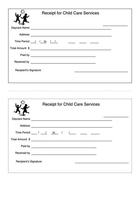 receipt template  child care services printable