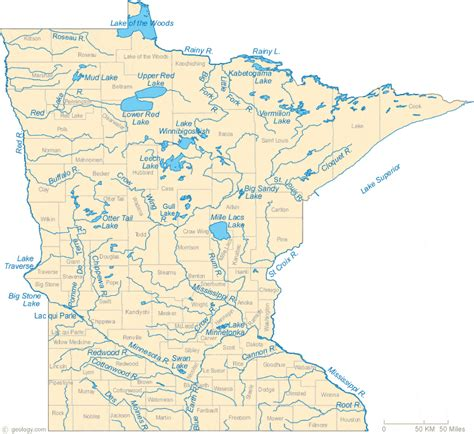 Map of Minnesota Lakes, Streams and Rivers