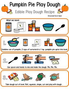 pumpkin play dough visual recipe  structured fun  sped