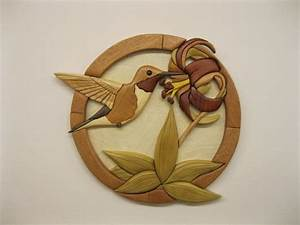 HUMMINGBIRD, wood carved wall decor, intarsia art by