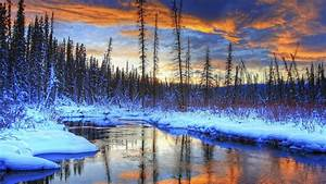 Snow, winter, mountains, trees, river, sunset wallpaper ...