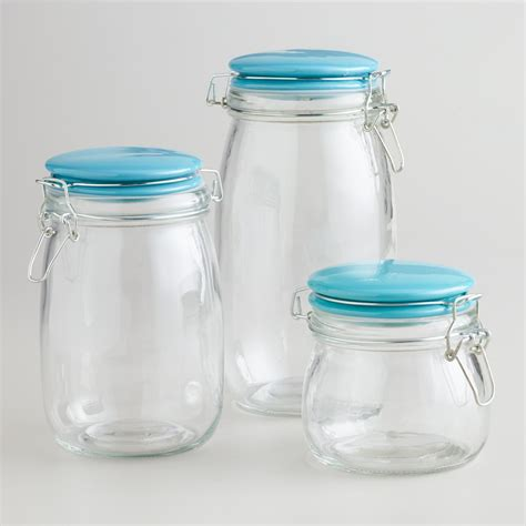 Glass Canisters by Glass Canisters With Aqua Cl Lids World Market