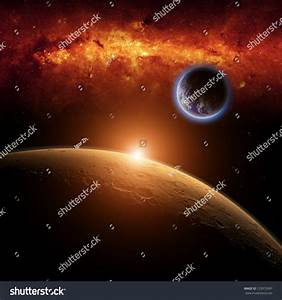 Abstract Scientific Background Planets Earth Mars Stock ...