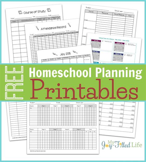 homeschool planning resources printable planning pages